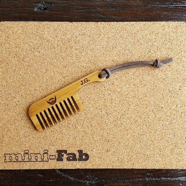 Image of Wood Beard Comb - Personalized Small Men's Grooming Pocket Accessory - Handmade Wood Gift