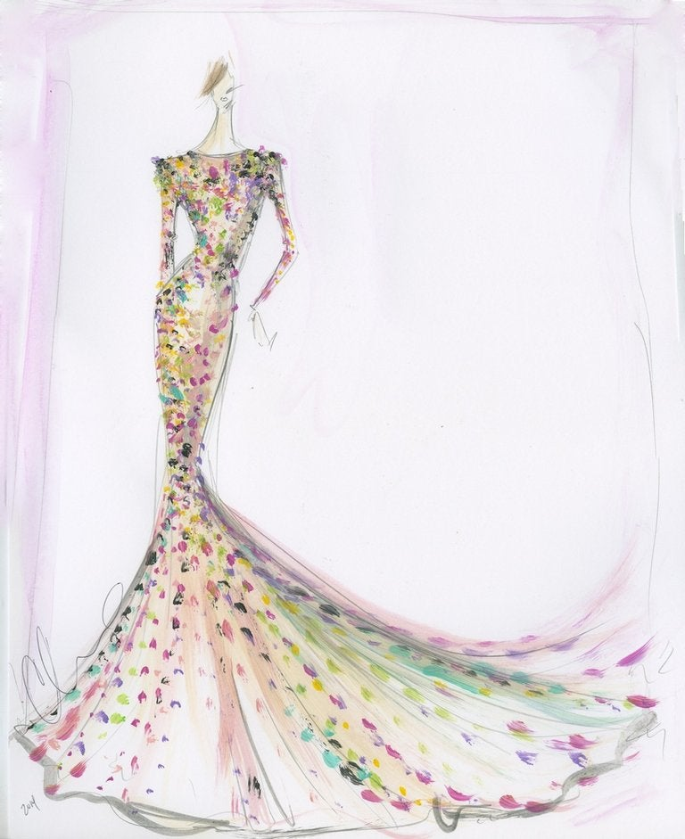 Image of Sequin Trumpet Gown - Sketch Print