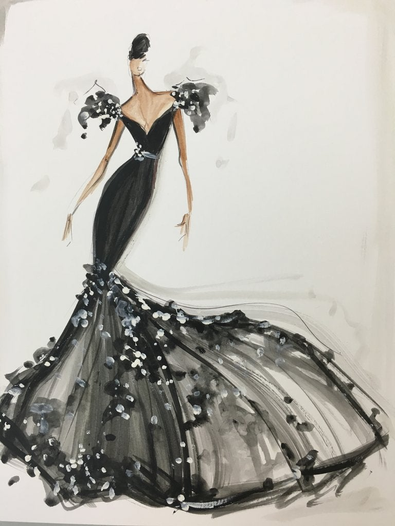 Embellished Trumpet Gown - Sketch Print | Christian Siriano