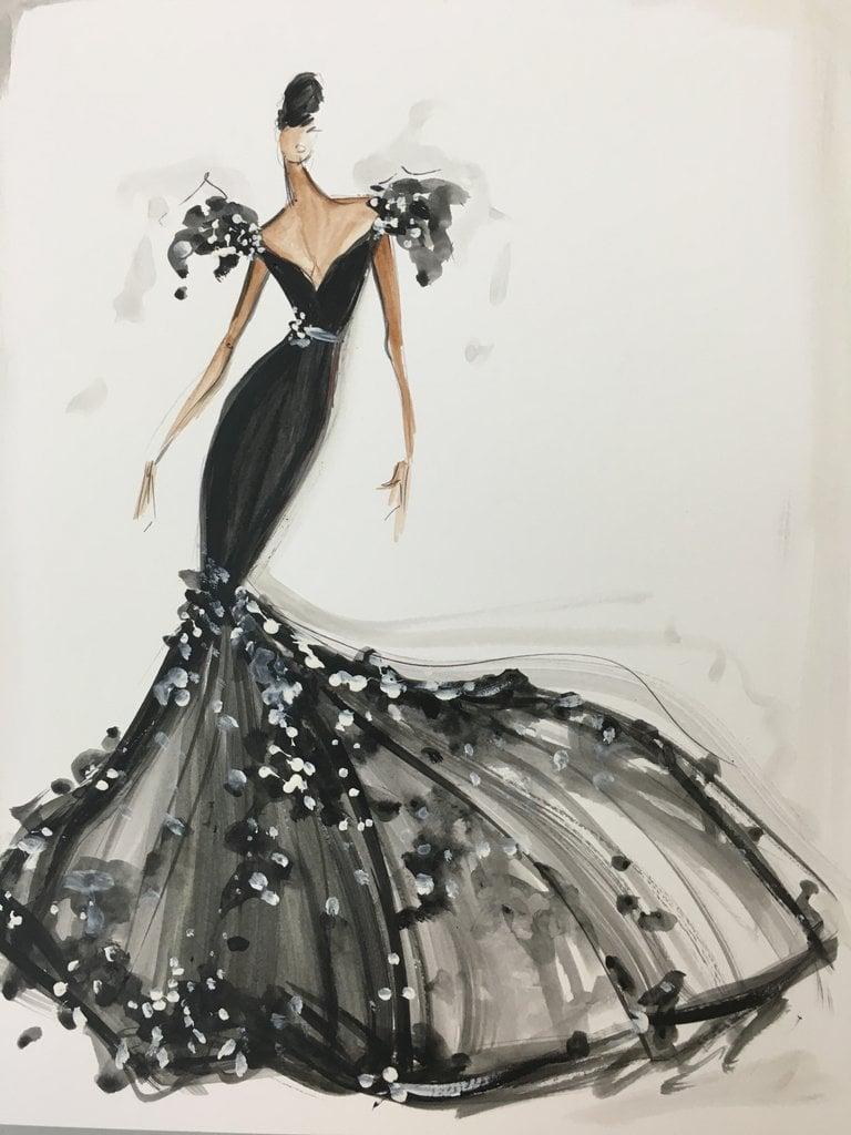 Image of Embellished Trumpet Gown - Sketch Print