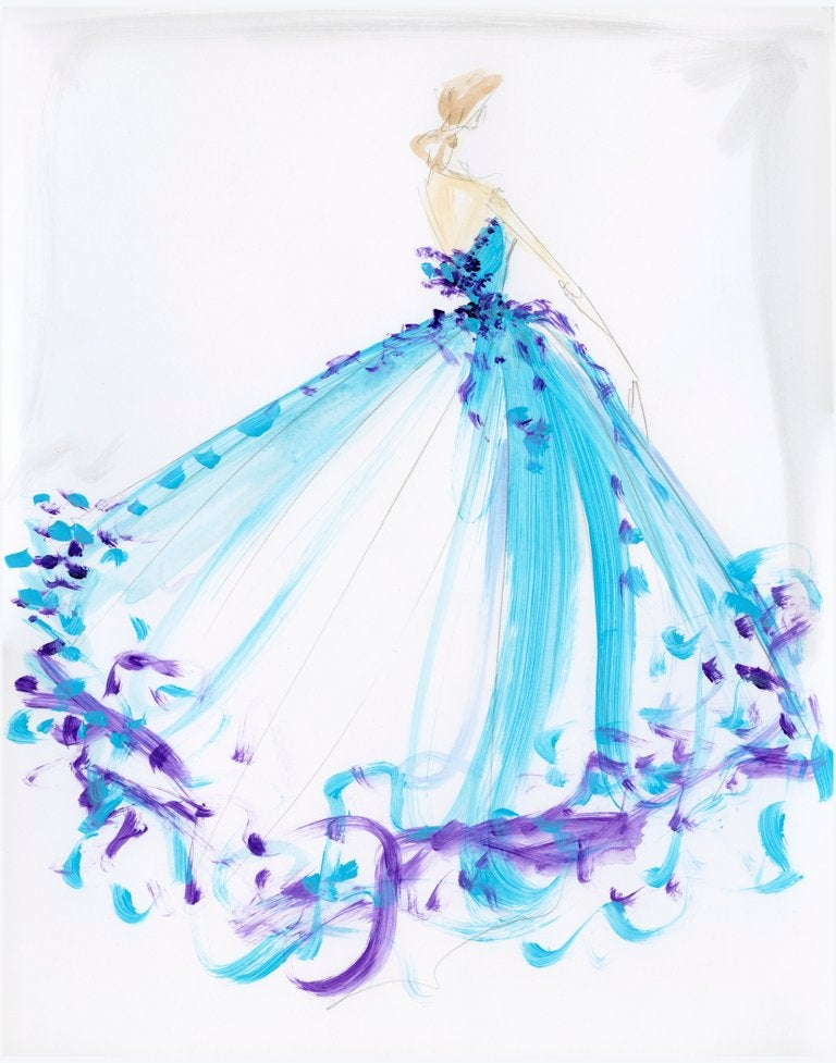 Image of Multi-Color Ball Gown - Sketch Print
