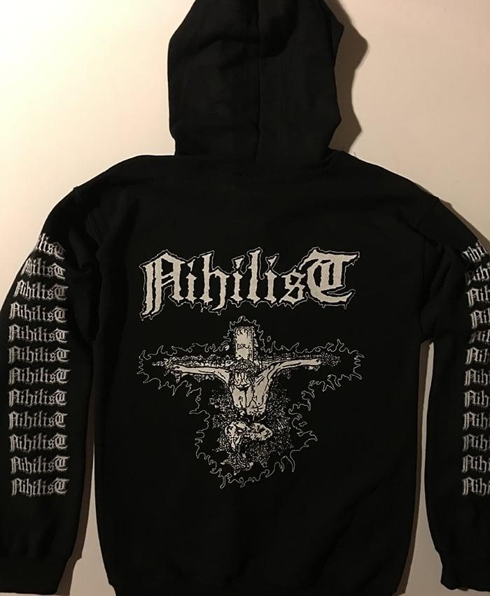 "Image of Nihilist "" Radiation Sickness "" Hooded Sweatshirt with logo Sleeve prints"