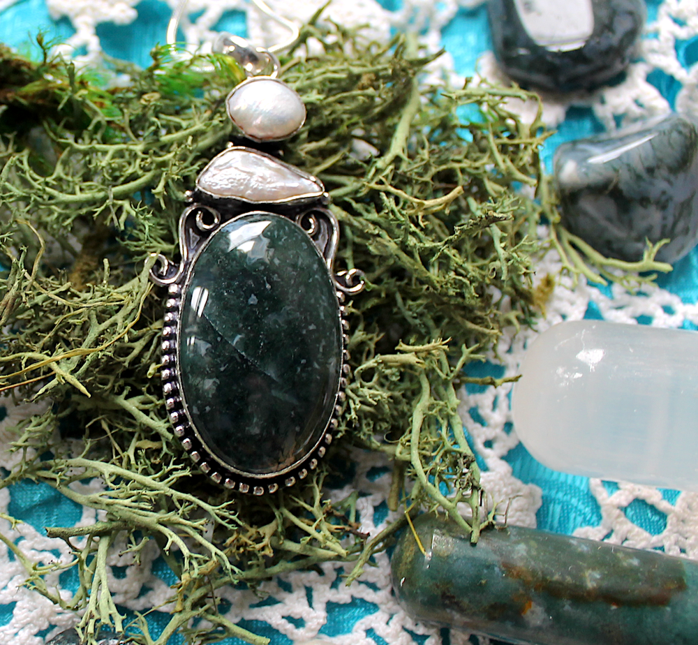 Image of Moss Agate & Pearl Sterling Silver Necklace