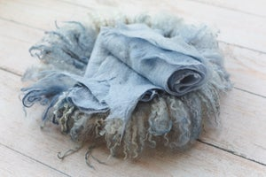 Image of Round Curly Felted Blanket - Organic Steal Blue