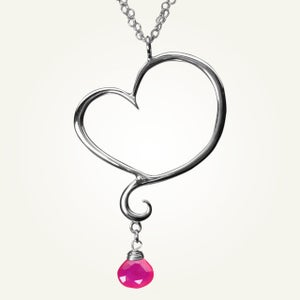Image of Aphrodite Heart Necklace with Pink Chalcedony, Sterling Silver