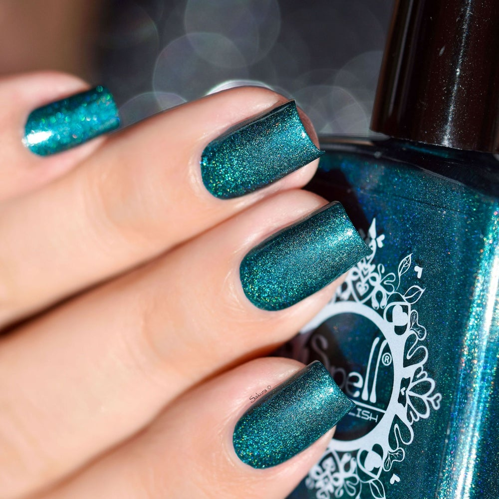 Magnificent Palace~ jade blue-green linear holo w/subtle aqua-blue ...