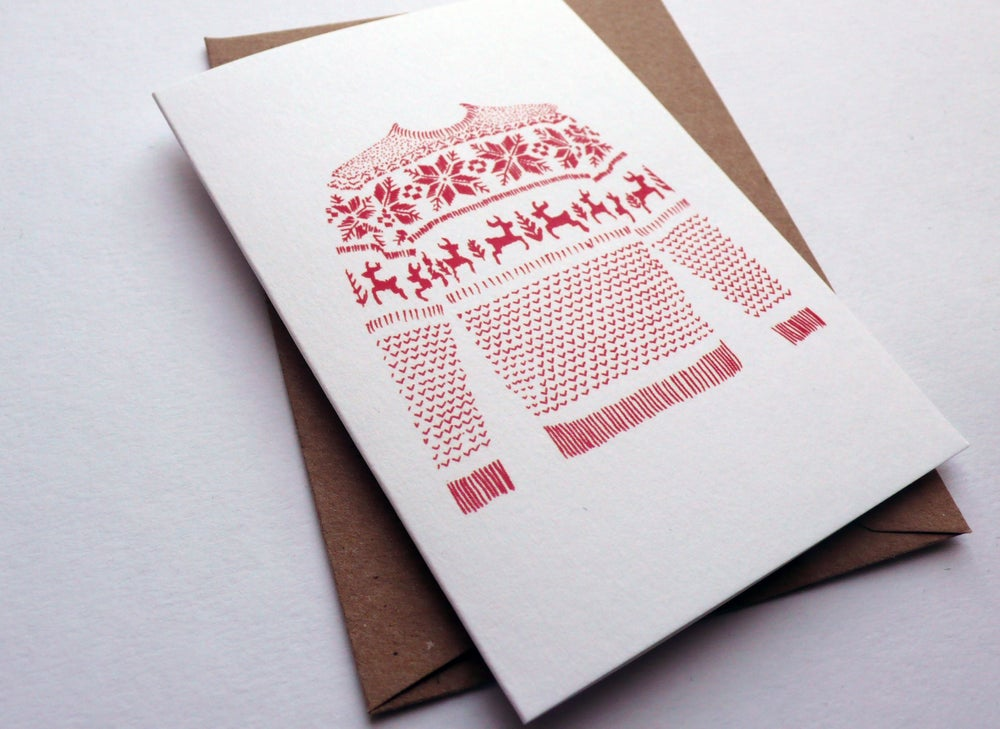 Image of CHRISTMAS CARD 3 PACK / RED JUMPER (DIGITALLY PRINTED) A7 SIZE, BLANK INSIDE