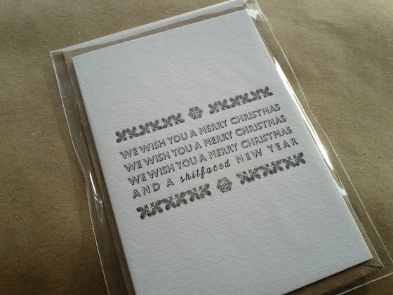 Image of LETTERPRESS CHRISTMAS CARD - WE WISH YOU A ... (A7 SIZE, BLANK INSIDE)