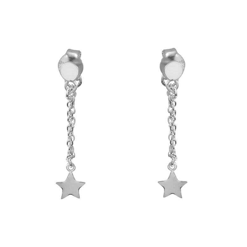 Image of Sterling Silver Star Chain Earrings