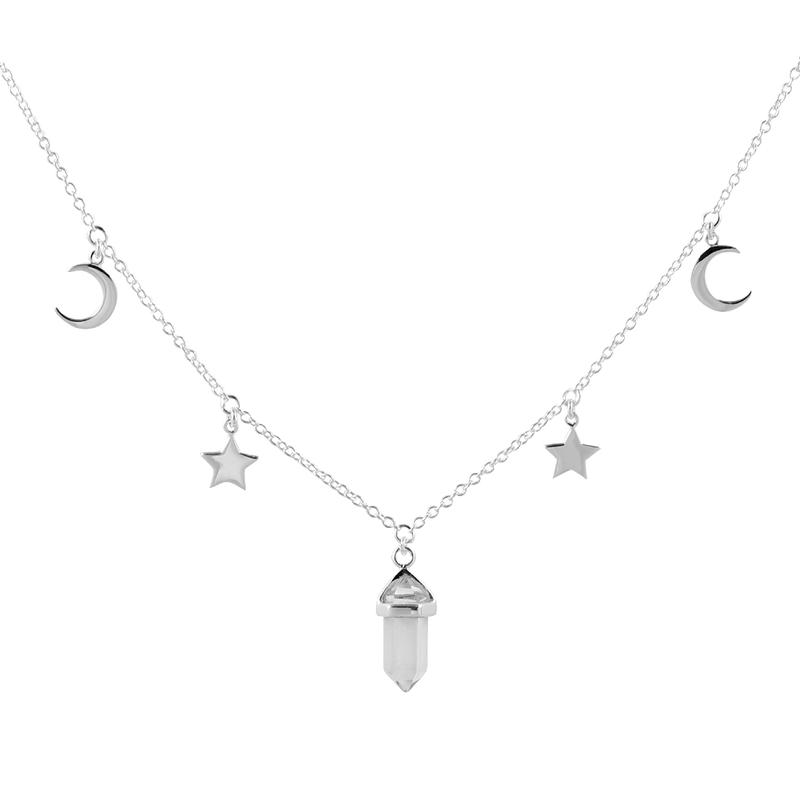 Image of Sterling Silver Crystal Galaxy Choker