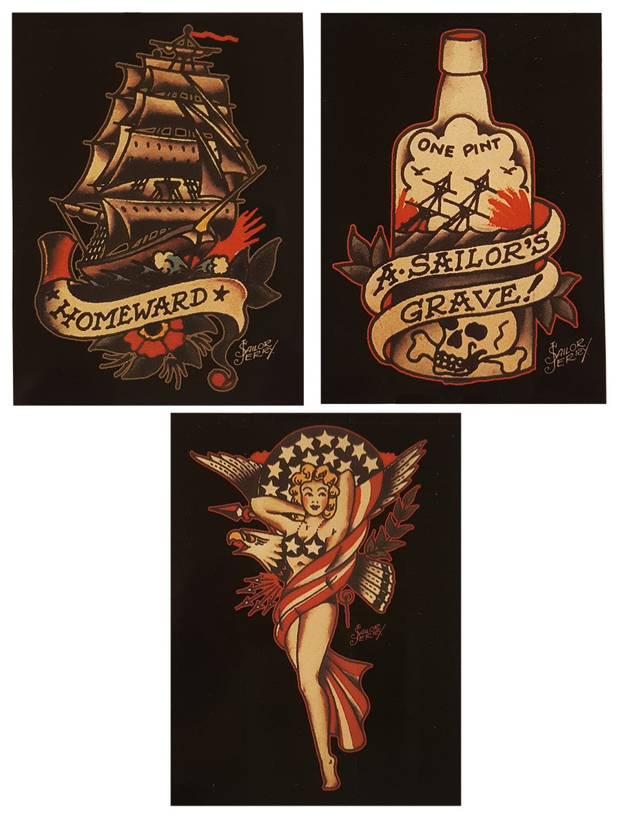 Image of Set of 3 Sailor Jerry Stickers