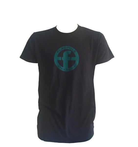 Image of Flagpole T Shirt (Black and Teal)
