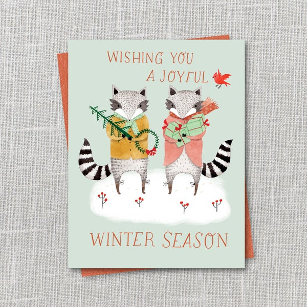 Image of Festive Raccoons Printable Holiday Notecard Instant Download