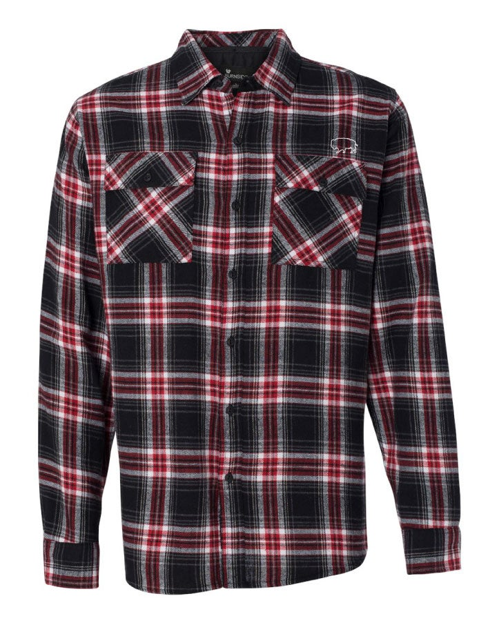 Image of Bison Yarn-Dyed Long Sleeve Flannel Shirt