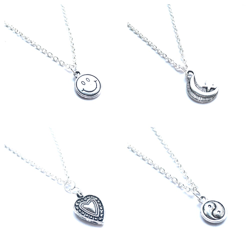 Image of Charm necklace - Smiley, Moon and Star, Beaded Heart, Yin Yang