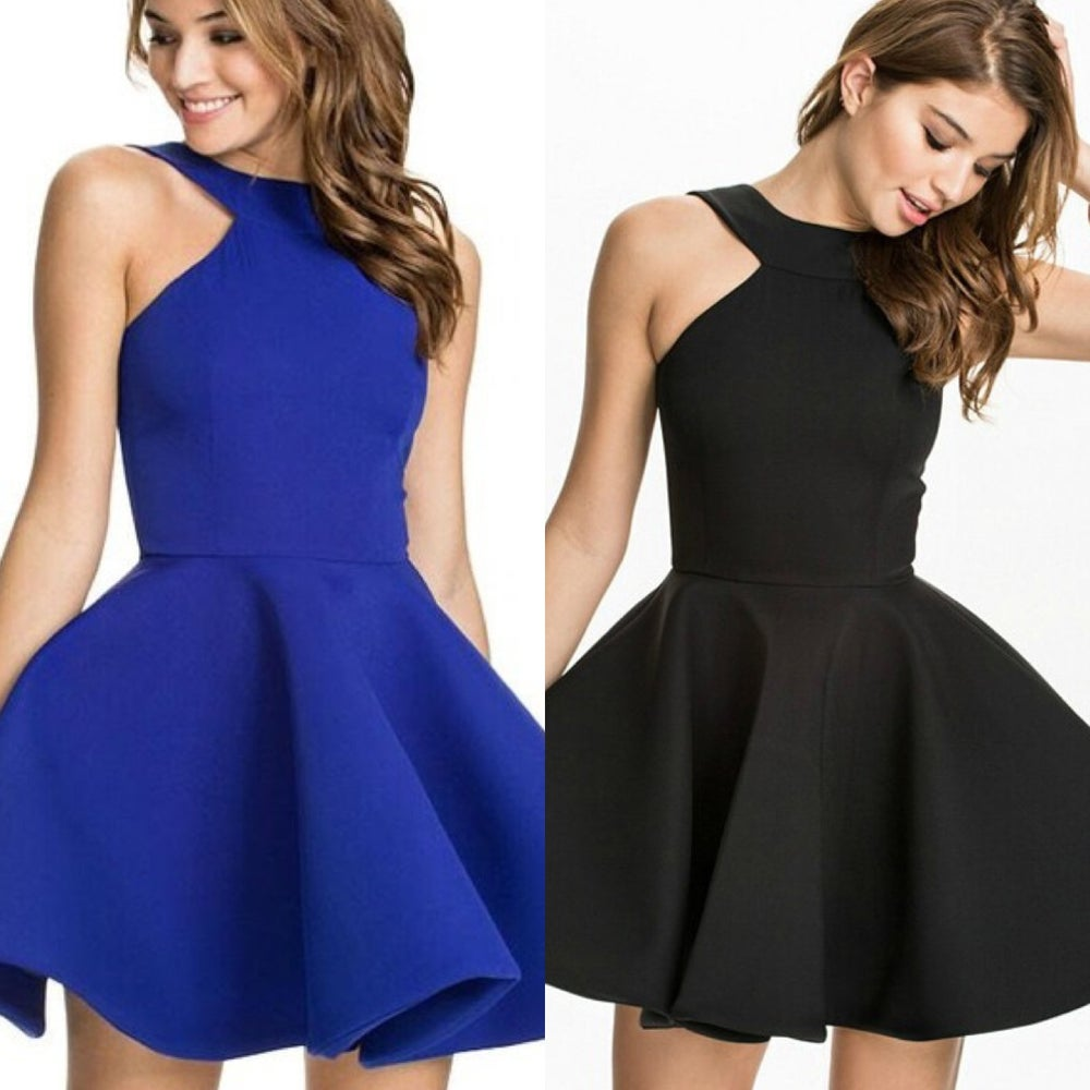 Image of GLAMOURFOXX LUXE Halter neck scuba structured skater dress