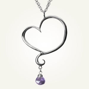 Image of Aphrodite Heart Necklace with Amethyst, Sterling Silver