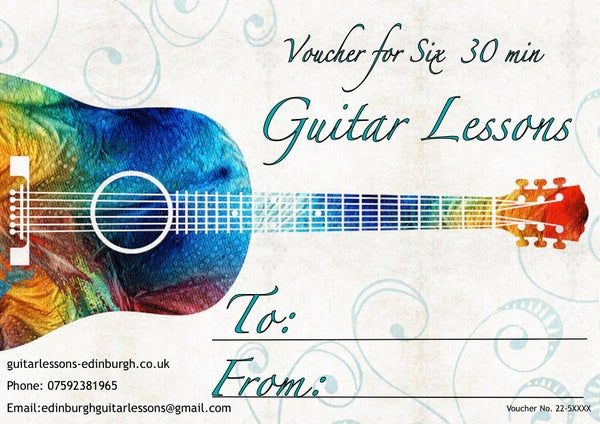 Image of Guitar Lesson Gift Voucher. Six 30 min lessons