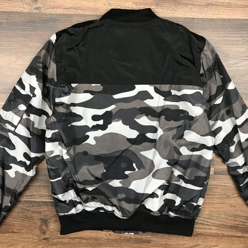 "Image of ""Alt Camo"" Ladies Contrast Bomber Jacket"