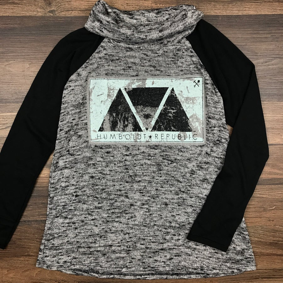"Image of ""Pyramids"" Ladies Cowl Neck Long Sleeve Top"