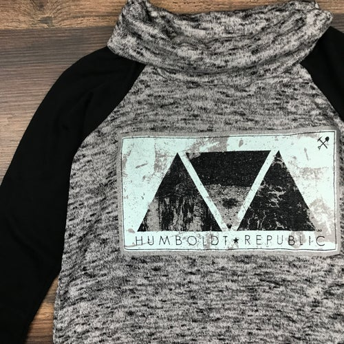 """Image of """"Pyramids"""" Ladies Cowl Neck Long Sleeve Top"""