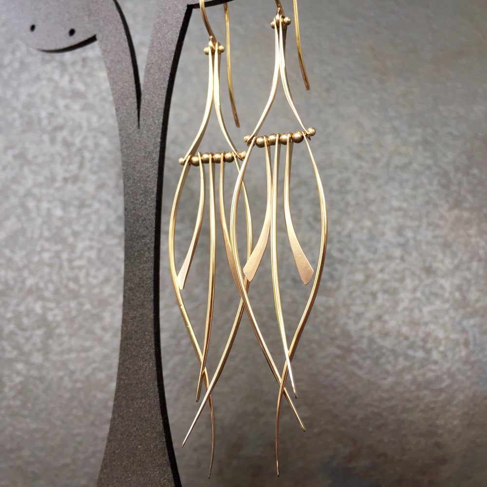 Image of Calligraphy Leaf Earring Silver or Gold Filled