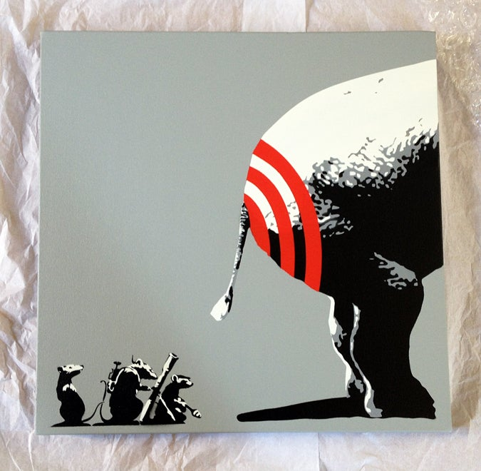 "Image of ""BUTT HURT"" GRAY (2014) ORIGINAL STENCIL ON CANVAS"