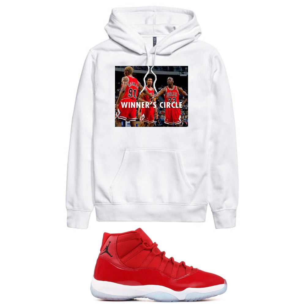 Image of WINNERS CIRCLE RETRO 11 WIN LIKE 96 HOODED SWEATSHIRT - WHITE
