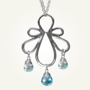 Image of Biergarten Necklace with Blue Topaz, Sterling Silver