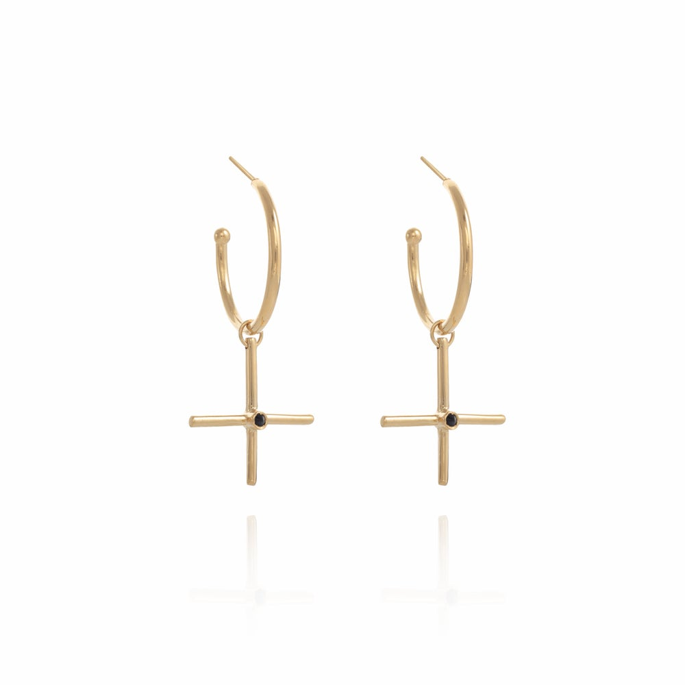 Image of XL Gold Gipsy Plus silver Earring