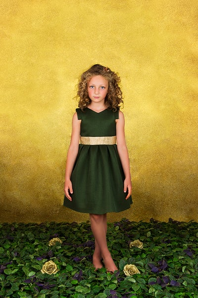 Image of Pleated neoprene dress khaki