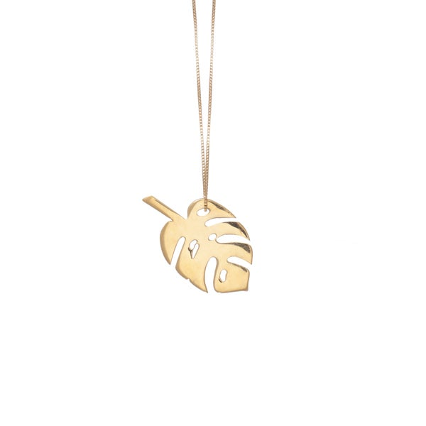 Image of Gold Monstera Necklce Large
