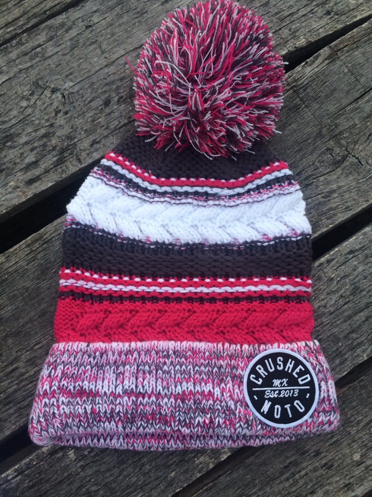 Image of Raspberry Pink Crushed MX Pom Pom Beanie