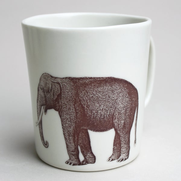 Image of 16oz mug with elephant, ivory