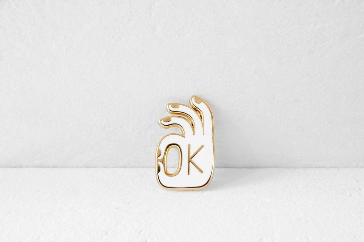 Image of OK - GOLD ENAMEL PIN BADGE