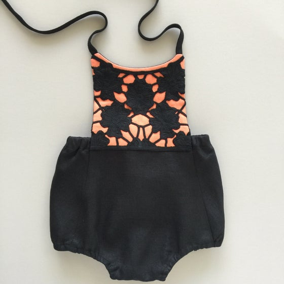 Image of Size 12 months - Black and Apricot Linen Romper