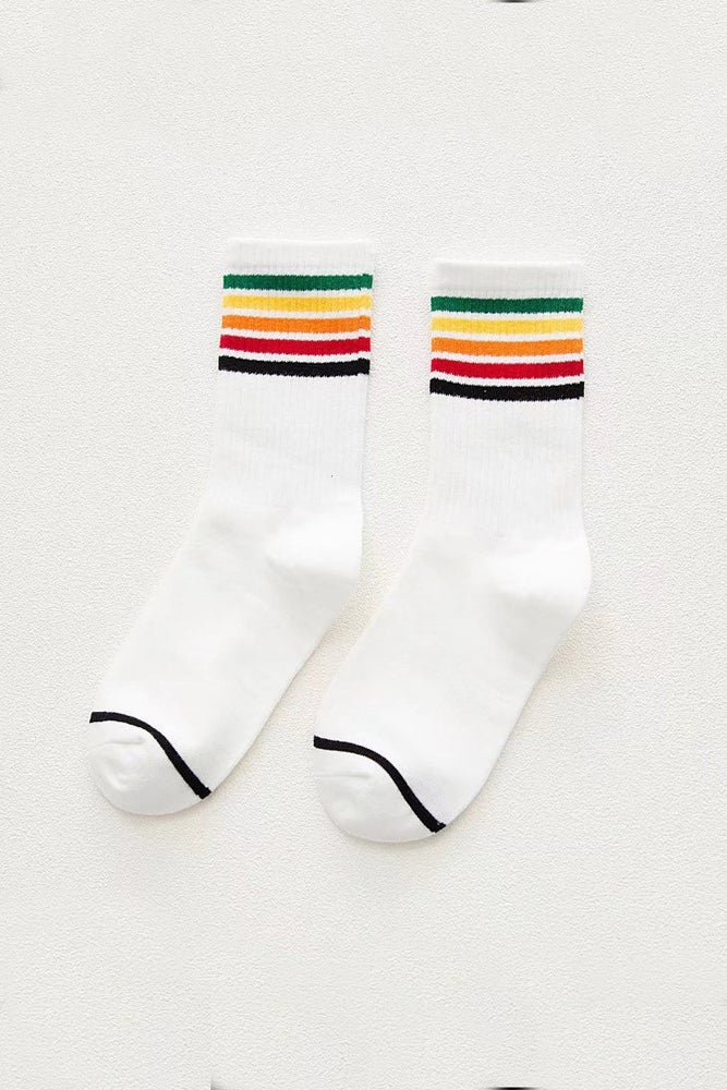 Image of LIGHT RAINBOW STRIPED SOCKS