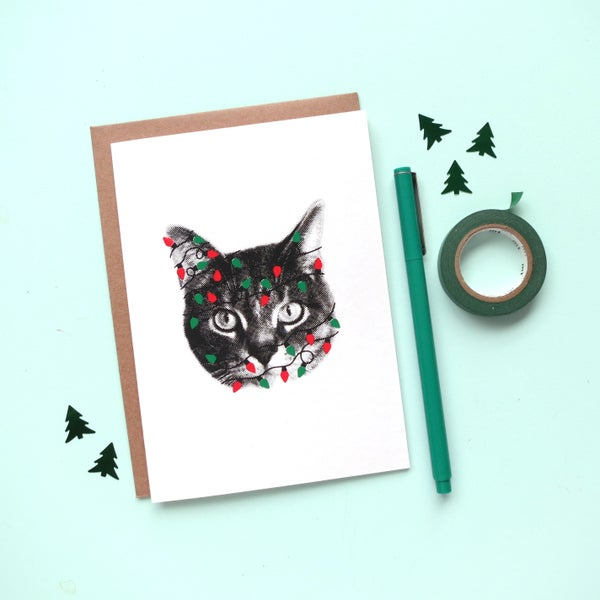 Image of gee whiskers series: holiday lights greeting card