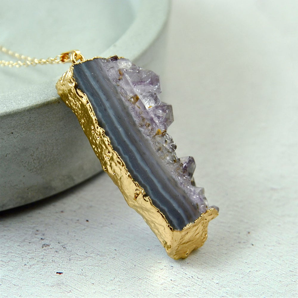 pendant stone druzy description bezel set statement shop sterling organic silver birthstone necklace amethyst raw silversmith