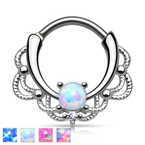 Image of Opal Stone Filigree Lacey Septum Clicker 1.2mm 16g