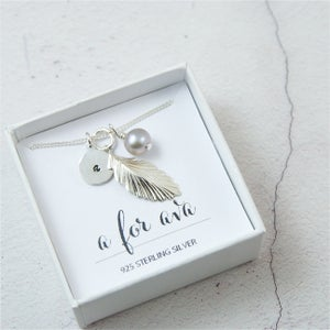 Image of Pluma - Personalised Sterling Silver Feather Charm Necklace