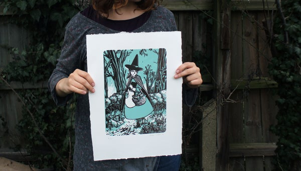 "Image of 10% disc.: ""Tiffany Aching"" Lino Print."