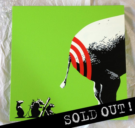 "Image of ""BUTT HURT"" ACID GREEN (2014) ORIGINAL STENCIL ON CANVAS"