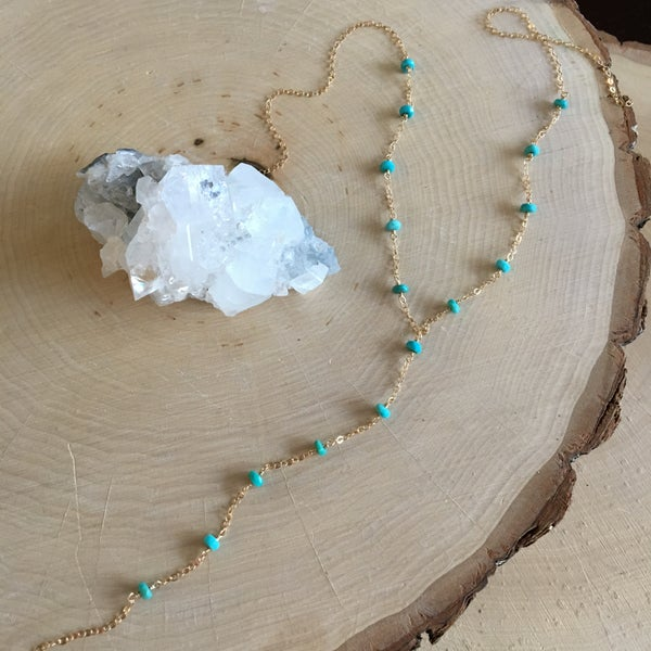 Image of Turquoise wire wrap y-necklace