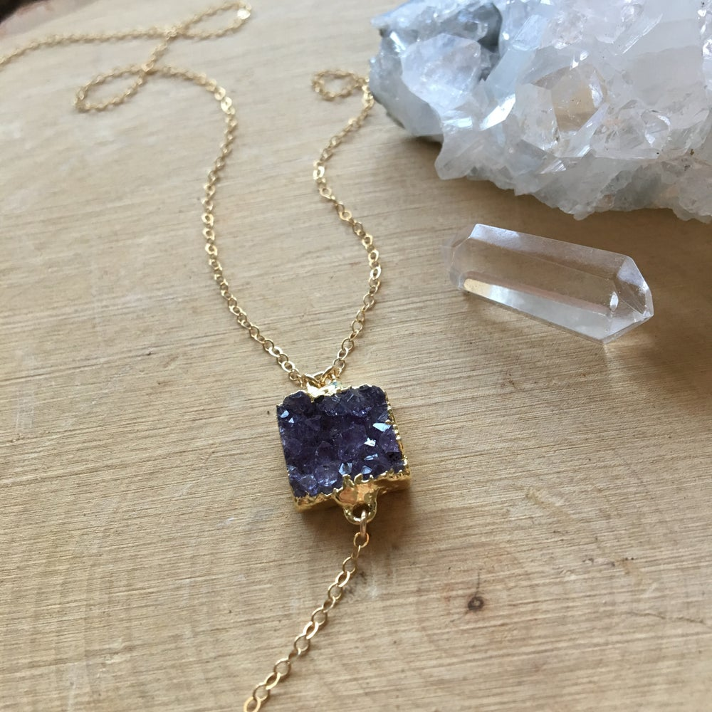 Image of One-of-a-kind amethyst druzy crystal y-necklace