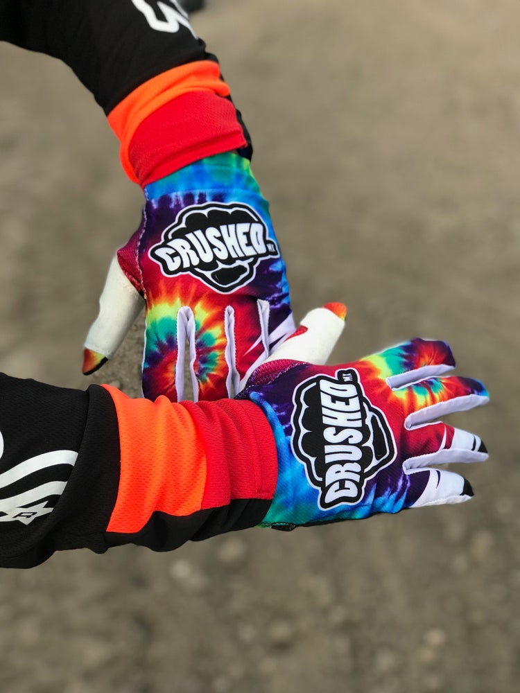 Image of Crushed MX Tie Dye Motocross Gloves