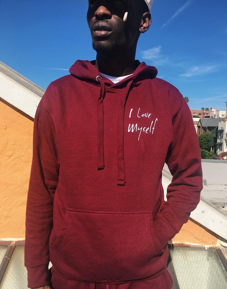 Image of Maroon ILoveMyself hoodie