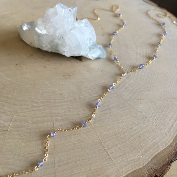 Image of Violet tanzanite wire wrap y-necklace