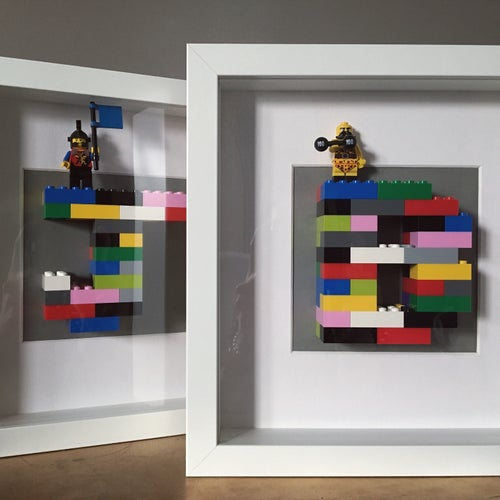 Image of White Framed Initial & Mini Figure