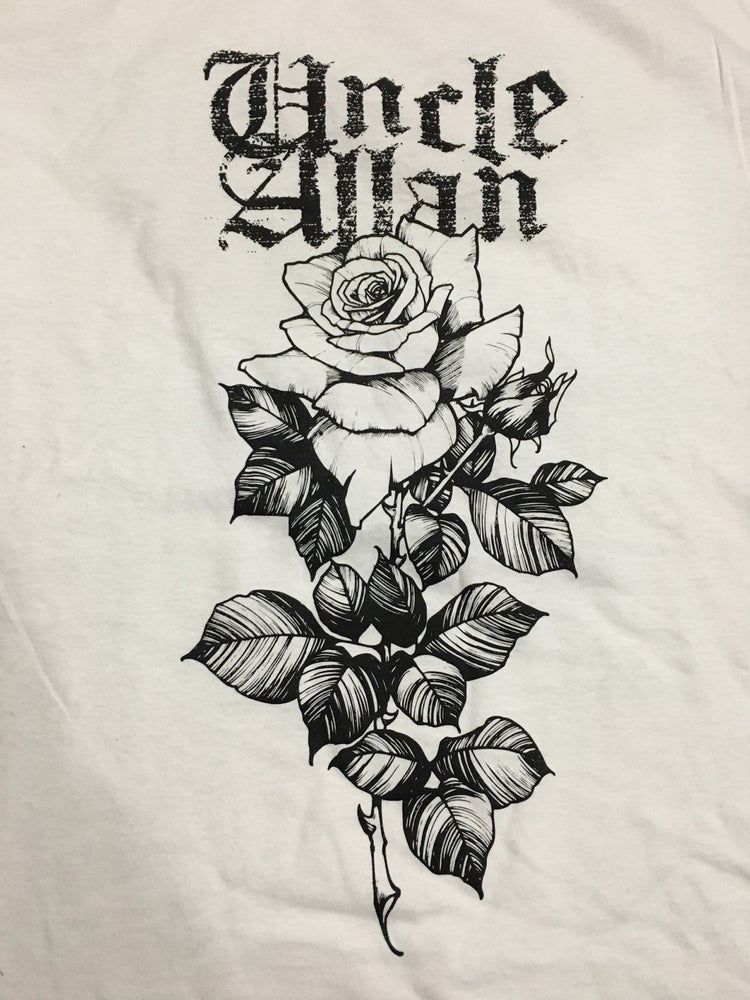 Image of White rose tshirt.